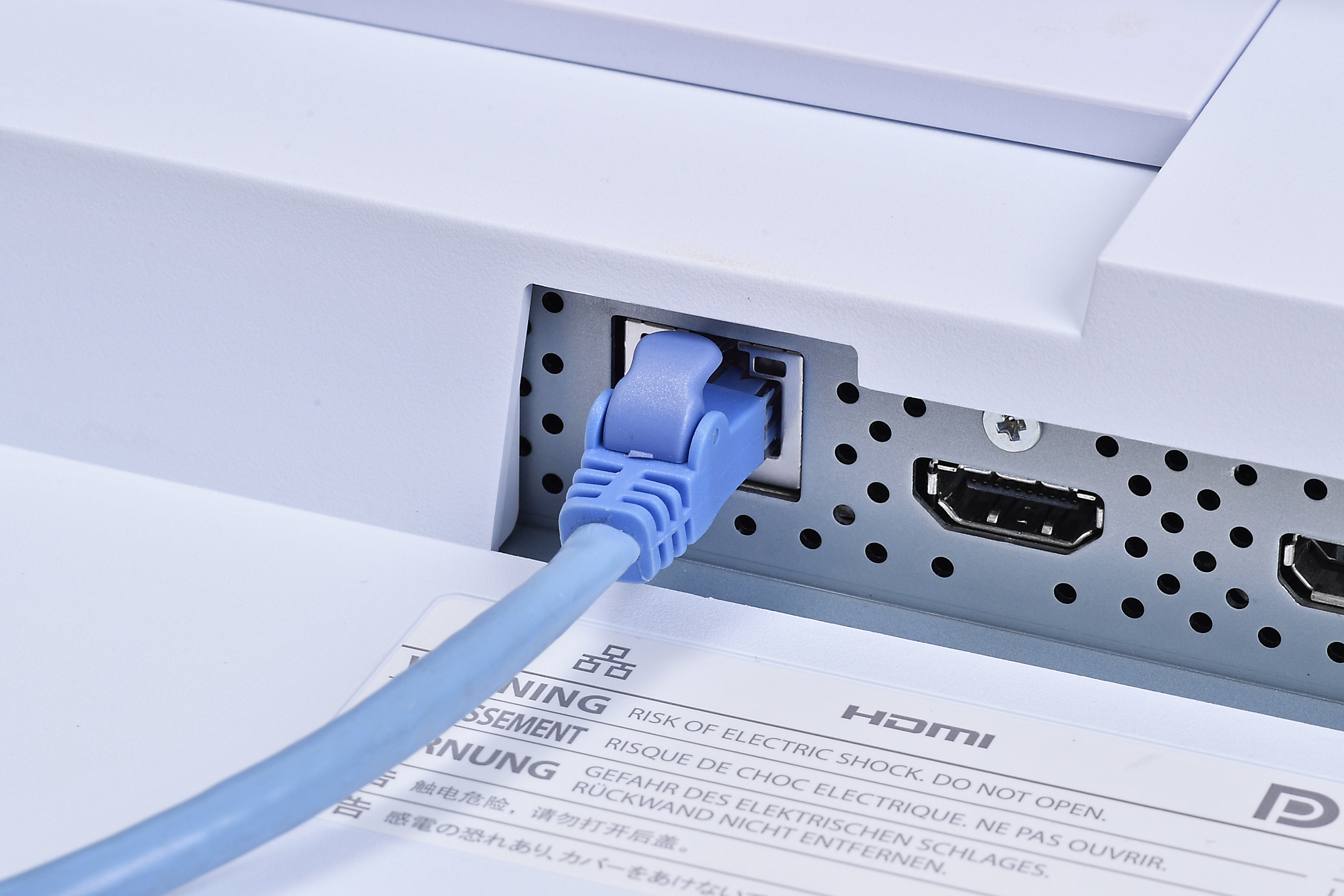 Connect your router or hub directly to the monitor's LAN port for a stable wired connection.