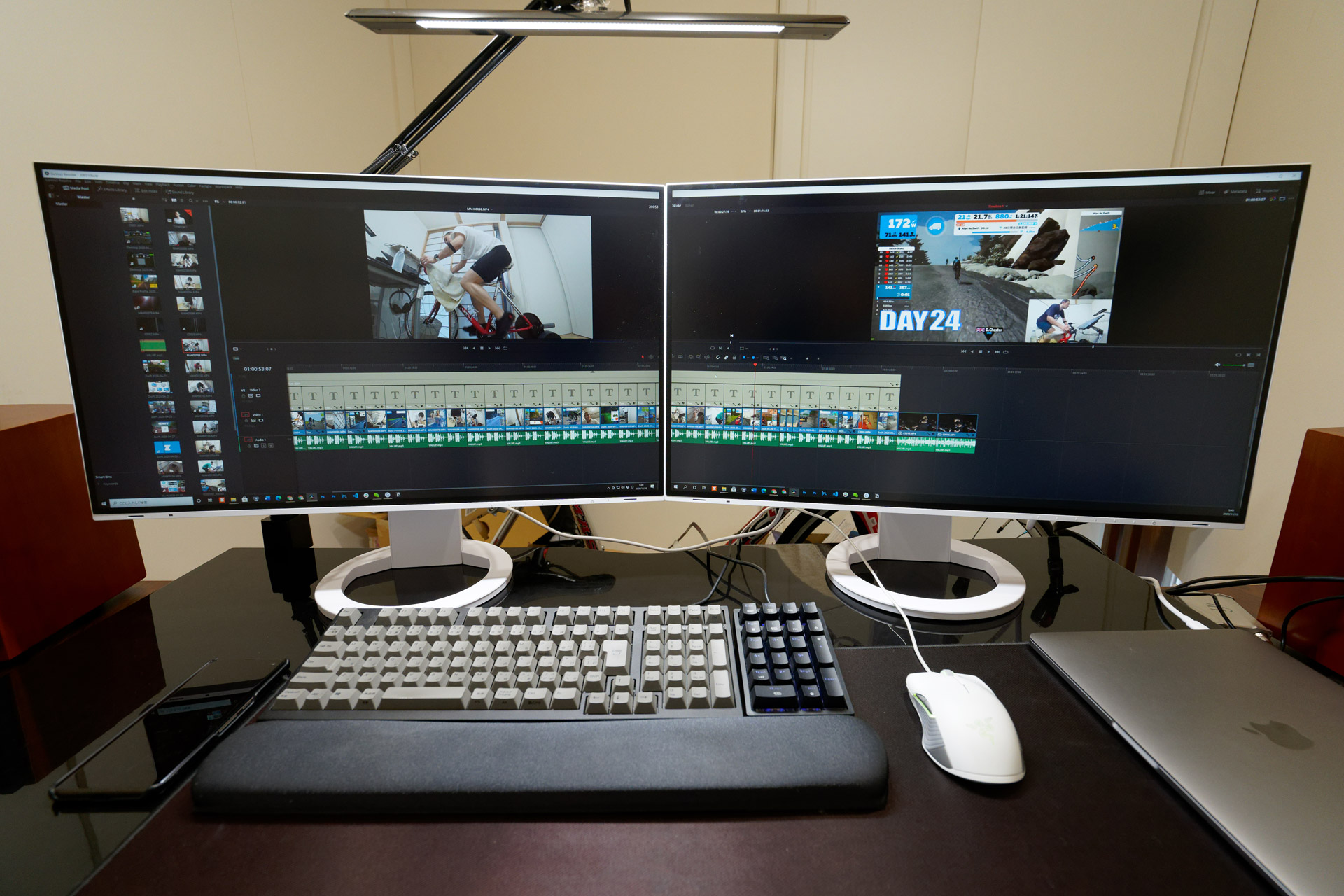 Efficiently editing video over an extensive workspace of 5120 x 1440 pixels.