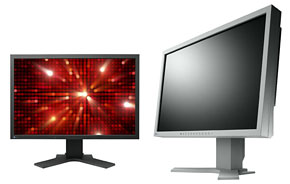 Photo: A 22-inch wide-screen FlexScan S2243W operating at eight bits and displaying approximately 16.77 million colors