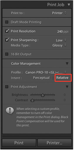 how to select which printer to use in lightroom 5