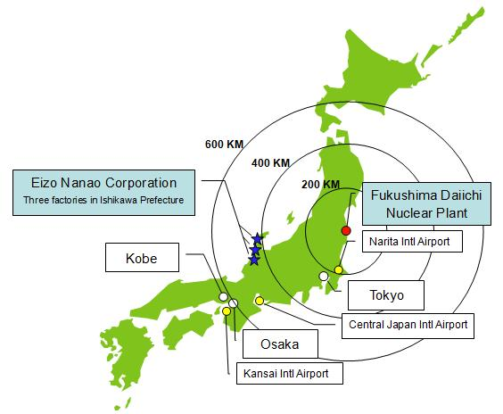 Statement from eizo regarding radiation levels and product safety eizo fukushima daiichi nuclear power plant map ccuart Gallery