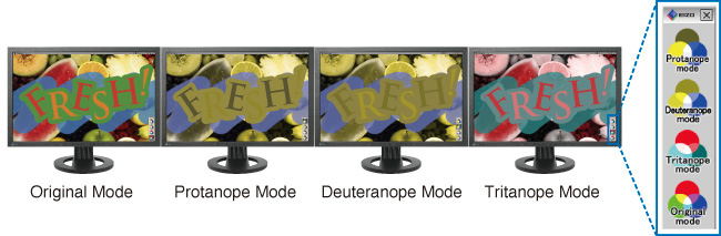 Original Mode, Protanope Mode, Deuteranope Mode, Tritanope Mode