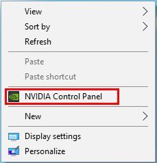 Right-click the desktop and choose [NVIDIA Control Panel]