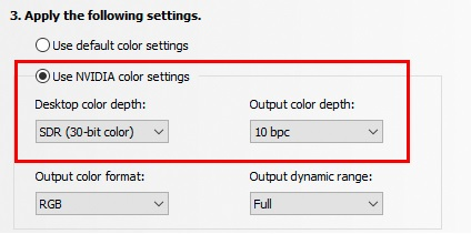 Select [Use NVIDIA color settings]
