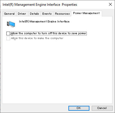 Intel Management Engine Interface setting